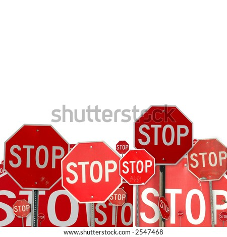 collage of stop signs - stock photo