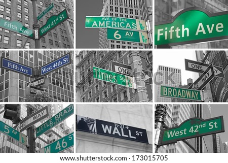 Collage of Streets signs of New York City. USA.  Color Splash Effect Picture. - stock photo