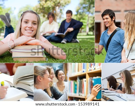 Collage of students at university - stock photo