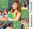 Collage of students working in group at lesson and school symbols - stock photo