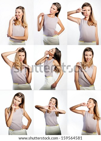 Collage of studio portraits of beautiful teenage girl expressing different emotions - stock photo