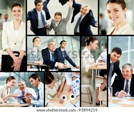 Collage of successful business people - stock photo