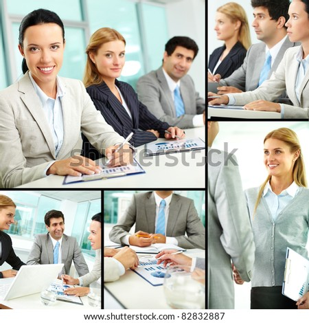 Collage of successful businesspeople studying and working - stock photo