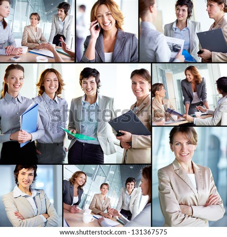 Collage of successful businesswomen at work - stock photo
