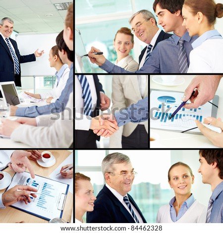 Collage of successful colleagues working in office - stock photo