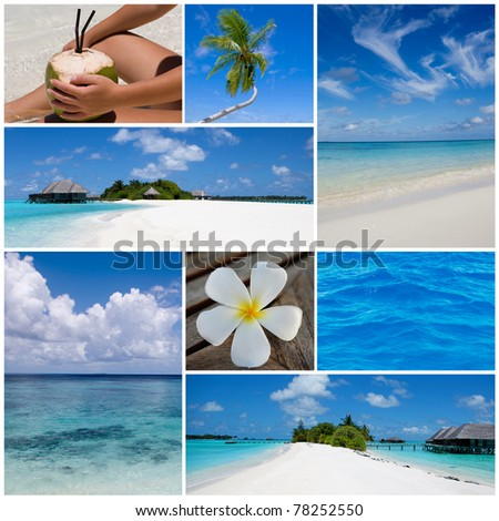Collage of summer beach and summertime images. Maldives island. - stock photo