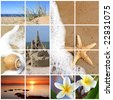 Collage of summer beach images.  Dreaming of vacation in the sun - sand, starfish, seashells, sandcastle, sunset, and glorious frangipani tropical flowers.  XL file. - stock photo