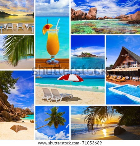 Collage of summer beach images  - nature and travel background (my photos) - stock photo
