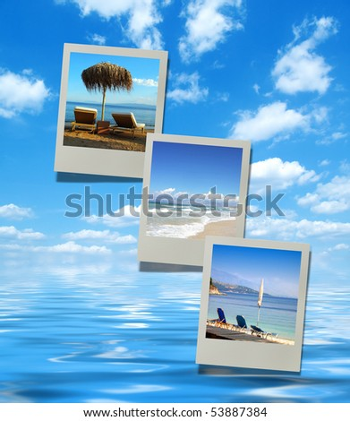 Collage of summer beach images. Vacation, sun, sand and beautiful beach