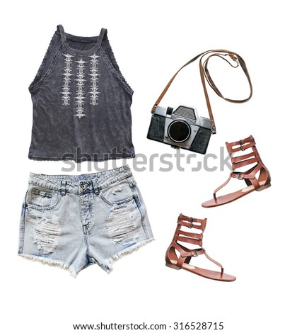 Collage of summer clothes isolated on white