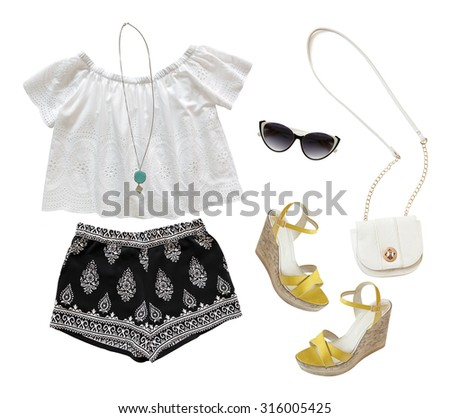 Collage of summer clothes isolated on white  background - stock photo