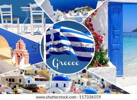 Collage of summer photos in Santorini island, Greece - stock photo