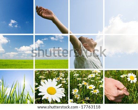 collage of summer photos young man are taking energy from nature - stock photo