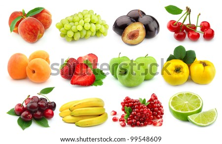 Collage of sweet and juice fruits on white - stock photo