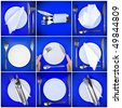 Collage of table serving-knife, fork and silk napkin on  blue  background. Spotlight source on top and in center. - stock photo