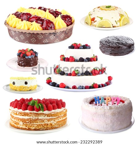 Collage of tasty cakes, isolated on white - stock photo
