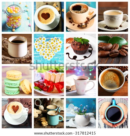 Collage of tasty food and drinks - stock photo