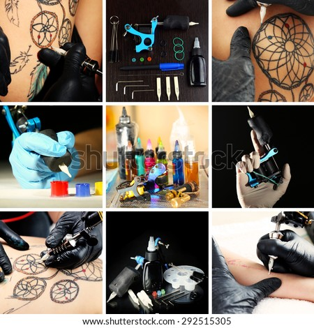 Collage of tattoo artist at work