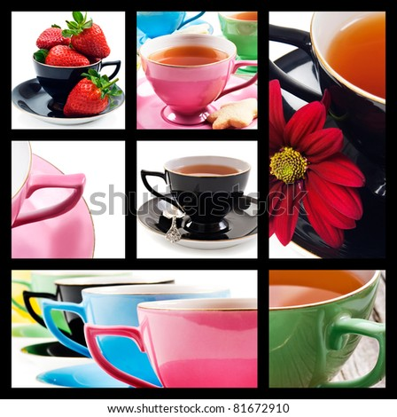 Collage of teacups in different colors on white background