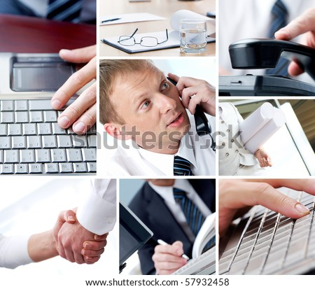 Collage of technology in business and objects - stock photo