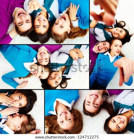 Collage of teenage friends lying on the floor - stock photo