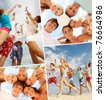 Collage of teenage friends spending summer vacation - stock photo