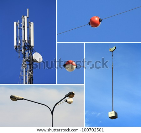 Collage of telecommunications electricity and building industries - stock photo