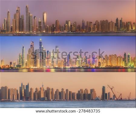 Collage of the beauty panorama at Dubai marina. Dubai, UAE - stock photo