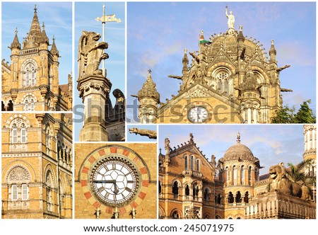 Collage of the details of the Victoria Railway station. Mumbai - stock photo