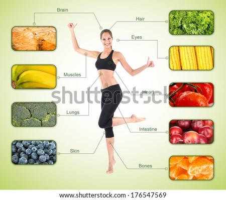 Collage of the most useful foods for human - stock photo