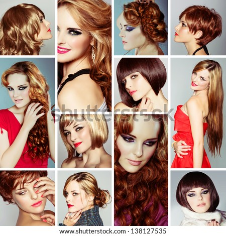 collage of the same beautiful young woman wearing different make-up and long and short hairstyles on studio background  - stock photo