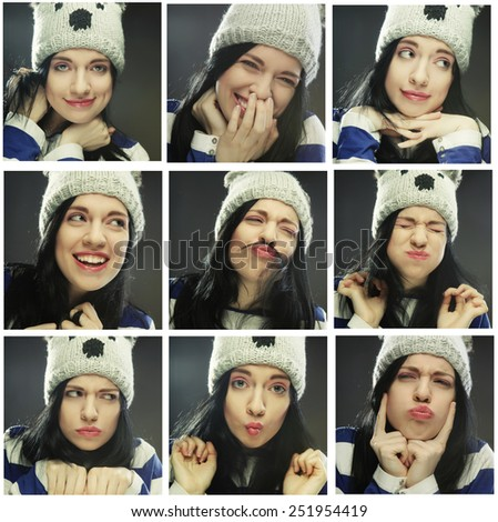 Collage of the same woman in winter hat making diferent expressions.Studio shot.  - stock photo