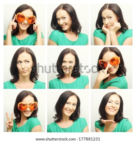 Collage of the same woman making diferent expressions. Studio shot. - stock photo