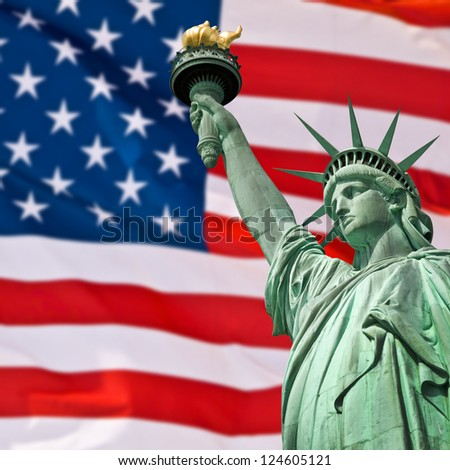 Collage of the Statue of Liberty against the the Star-Spangled Banner - stock photo