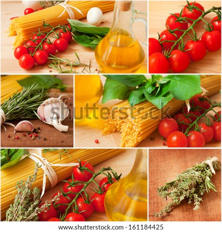 Collage of the traditional ingredients of the Italian cuisine - stock photo