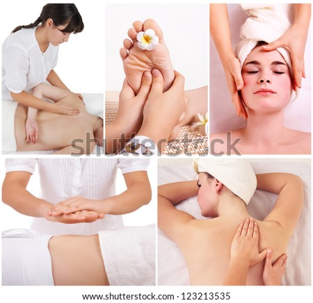 Collage of therapist making different massage in spa salon - stock photo