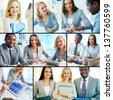 Collage of three business partners at work in office - stock photo