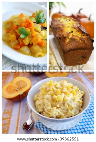Collage of three dishes with pumpkin - autumn vegetable casserole, bread with raisins and millet porridge - stock photo