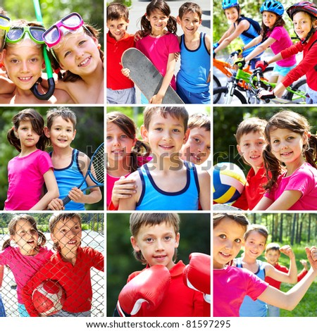 Collage of three happy children spending summer vacation - stock photo