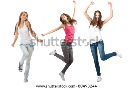 Collage of three happy excited young women with arms extended  in different perspectives. Over white background - stock photo