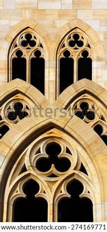 Collage Of Three Photos Similar Arched Gothic Windows Germany 13th