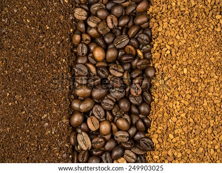 collage of three types of coffee, milled, instant and beans - stock photo