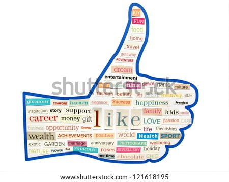 collage of thumb up from words cut out of woman magazine - stock photo