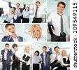 Collage of tired businesspeople in office - stock photo