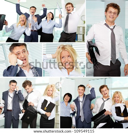 Collage of tired businesspeople in office