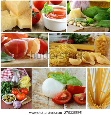 collage of traditional Italian food ingredients (Parmesan cheese, mozzarella, pasta, prosciutto, basil and tomato sauce) - stock photo