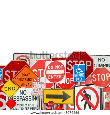Collage of traffic signs - stock photo