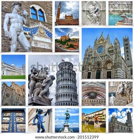 Collage of travel images from Italy (my photos). Attractions of Tuscany - Florence, Siena, Pisa - stock photo