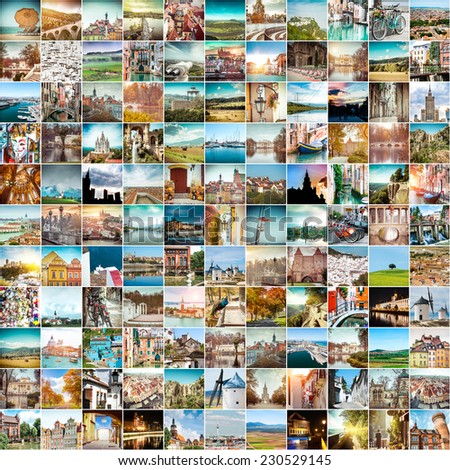 Collage of travel photos from different cities of the Europe - stock photo