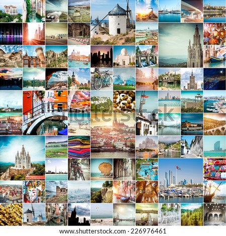 collage of travel photos from different cities of the world - stock photo